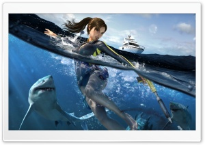 Tomb Raider Underworld Lara Croft Swimming With Sharks HD Wide Wallpaper for Widescreen