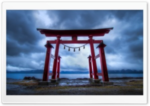 Torii Gate, Lake Tazawa HD Wide Wallpaper for 4K UHD Widescreen desktop & smartphone
