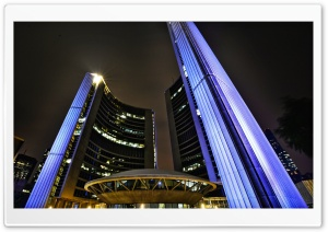 Toronto City Hall at Night HD Wide Wallpaper for Widescreen