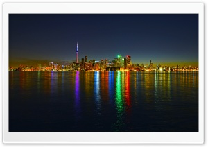 Toronto Skyline at Night HD Wide Wallpaper for 4K UHD Widescreen desktop & smartphone