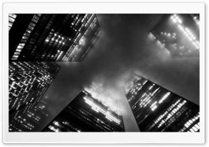 Toronto Skyscrapers in Fog HD Wide Wallpaper for Widescreen