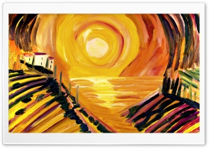 Toscana Oil Painting Mare Sunset Ultra HD Wallpaper for 4K UHD Widescreen desktop, tablet & smartphone