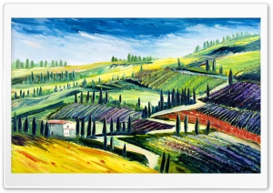 Toscany Oil Painting HD Wide Wallpaper for 4K UHD Widescreen desktop & smartphone