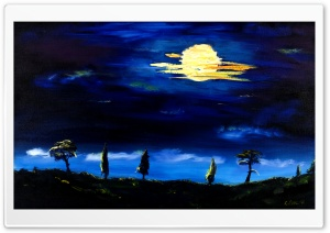 Toscany Oil Painting blue night