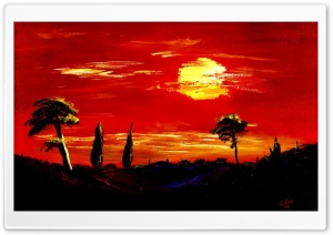 Toscany Oil Painting red night HD Wide Wallpaper for 4K UHD Widescreen desktop & smartphone