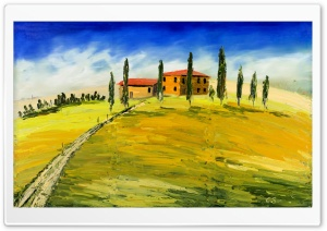 Toskana Olgemalde, Tuscany Oil Painting HD Wide Wallpaper for Widescreen