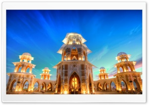 Tower at Sunset, Burning Man, Nevada, United States HD Wide Wallpaper for Widescreen