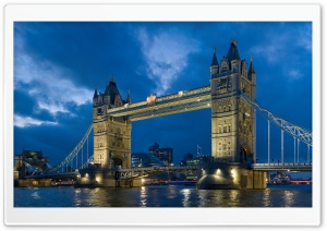 Tower Bridge From The North Bank At Dusk HD Wide Wallpaper for 4K UHD Widescreen desktop & smartphone