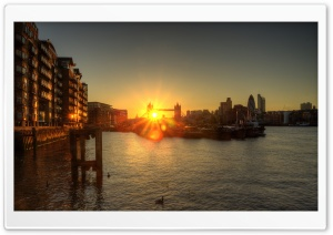 Tower Bridge Sunset HDR HD Wide Wallpaper for 4K UHD Widescreen desktop & smartphone