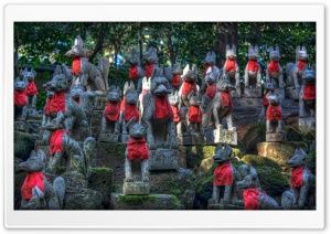 Toyokawa Inari Shrine Foxes HD Wide Wallpaper for Widescreen