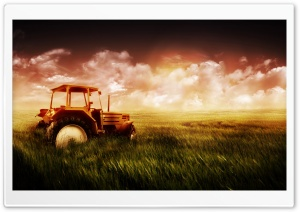 Tractor in Field HD Wide Wallpaper for 4K UHD Widescreen desktop & smartphone