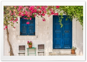 Traditional greek house with flowers in Paros island, Greece HD Wide Wallpaper for Widescreen