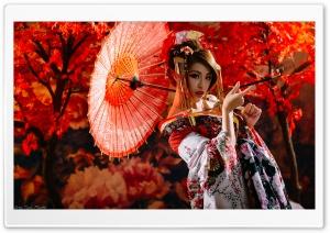 Traditional Japanese Woman Smoking Ultra HD Wallpaper for 4K UHD Widescreen desktop, tablet & smartphone
