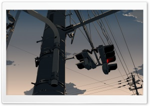 Traffic Lights Anime Scene HD Wide Wallpaper for Widescreen