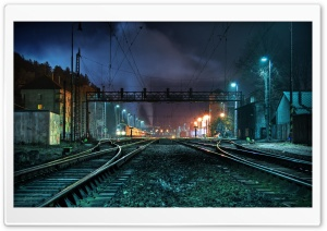 Train Station At Night HD Wide Wallpaper for 4K UHD Widescreen desktop & smartphone