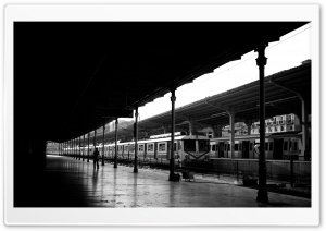 Train Station Black And White HD Wide Wallpaper for 4K UHD Widescreen desktop & smartphone