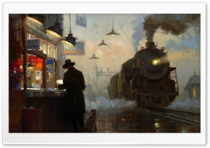 Train Station Painting HD Wide Wallpaper for Widescreen