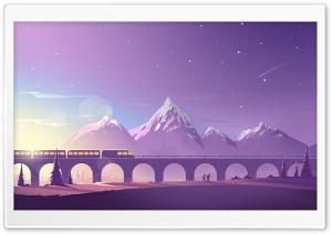 Train Travel Illustration Ultra HD Wallpaper for 4K UHD Widescreen desktop, tablet & smartphone
