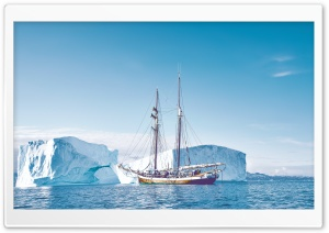 Travel, Sailing Ship, Greenland, Icebergs HD Wide Wallpaper for 4K UHD Widescreen desktop & smartphone