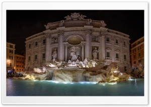 Trevi Fountain at night, Rome, Italy HD Wide Wallpaper for 4K UHD Widescreen desktop & smartphone