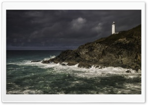 Trevose Head Lighthouse, Storm Clouds Ultra HD Wallpaper for 4K UHD Widescreen desktop, tablet & smartphone
