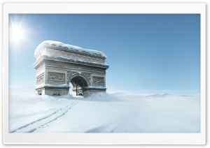 Triumphal Arch, Winter HD Wide Wallpaper for Widescreen