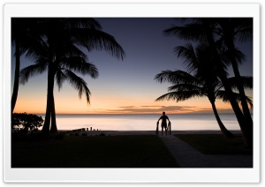 Tropical Beach Silhouette HD Wide Wallpaper for Widescreen