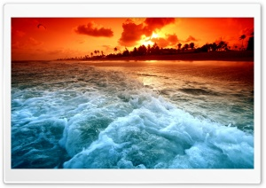 Tropical Beach Sunset HD Wide Wallpaper for Widescreen