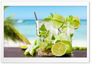 Tropical Cocktail With Lime HD Wide Wallpaper for Widescreen