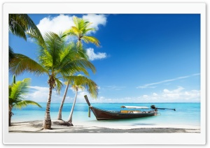 Tropical Traditional Wooden Boat HD Wide Wallpaper for Widescreen