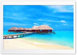 Tropical Water Bungalows HD Wide Wallpaper for Widescreen