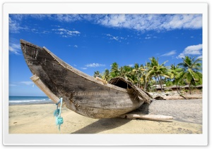 Tropical Wooden Boat HD Wide Wallpaper for Widescreen