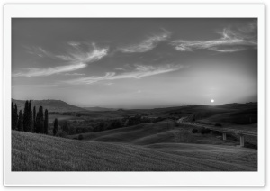 Tuscany Landscape Monochrome HD Wide Wallpaper for Widescreen