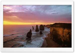 Twelve Apostles At Sunset, Port Campbell National Park, Australia HD Wide Wallpaper for 4K UHD Widescreen desktop & smartphone