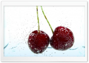 Two Cherries Background HD Wide Wallpaper for 4K UHD Widescreen desktop & smartphone