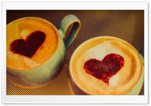 Two Coffee for Two Hearts HD Wide Wallpaper for Widescreen