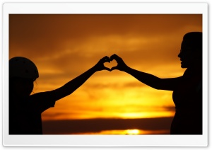 Two Making Love Hearts by Hands At Sunset Ultra HD Wallpaper for 4K UHD Widescreen desktop, tablet & smartphone