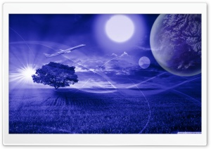 Two suns Fantasy Mohamed Banane HD Wide Wallpaper for Widescreen