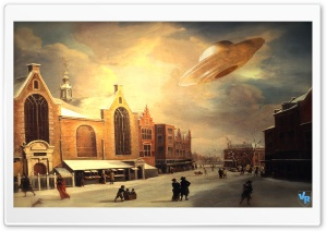 UFO at Painting HD Wide Wallpaper for Widescreen