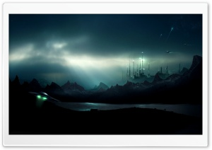 UFO Night HD Wide Wallpaper for Widescreen