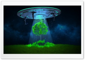 UFO Tree Abduction HD Wide Wallpaper for 4K UHD Widescreen desktop & smartphone