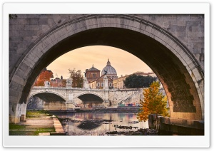 Under the St. Angelo Bridge, Rome, Italy HD Wide Wallpaper for 4K UHD Widescreen desktop & smartphone