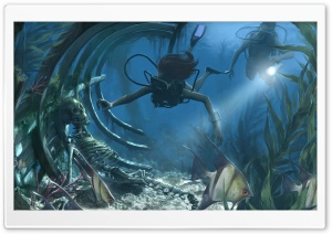 Underwater Painting HD Wide Wallpaper for Widescreen