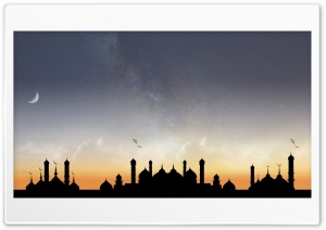 Unique Mosque Milky Way HD Wide Wallpaper for Widescreen