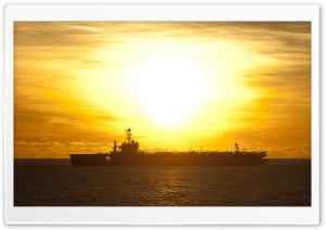 USS Cowpens CG-63 Cruiser at Sunrise HD Wide Wallpaper for Widescreen