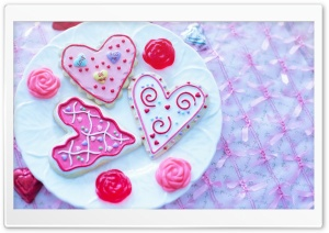 Valentine Heart Sugar Cookies HD Wide Wallpaper for Widescreen