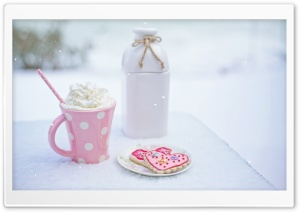 Valentine's Day Hot Chocolate and Heart Sugar Cookies HD Wide Wallpaper for Widescreen