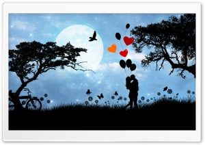 Valentine's Day Love Under The Moonlight HD Wide Wallpaper for Widescreen