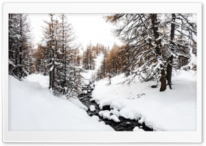 Vallee de la Claree scenic valley, Winter, French Alps HD Wide Wallpaper for 4K UHD Widescreen desktop & smartphone