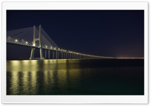 Vasco Da Gama Bridge at Night HD Wide Wallpaper for Widescreen